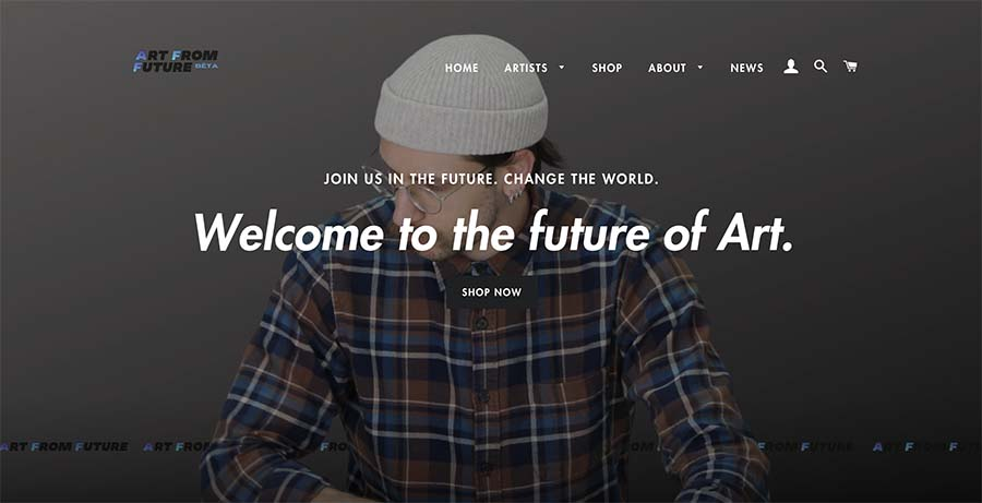 Photo of startup Art From Future's website.