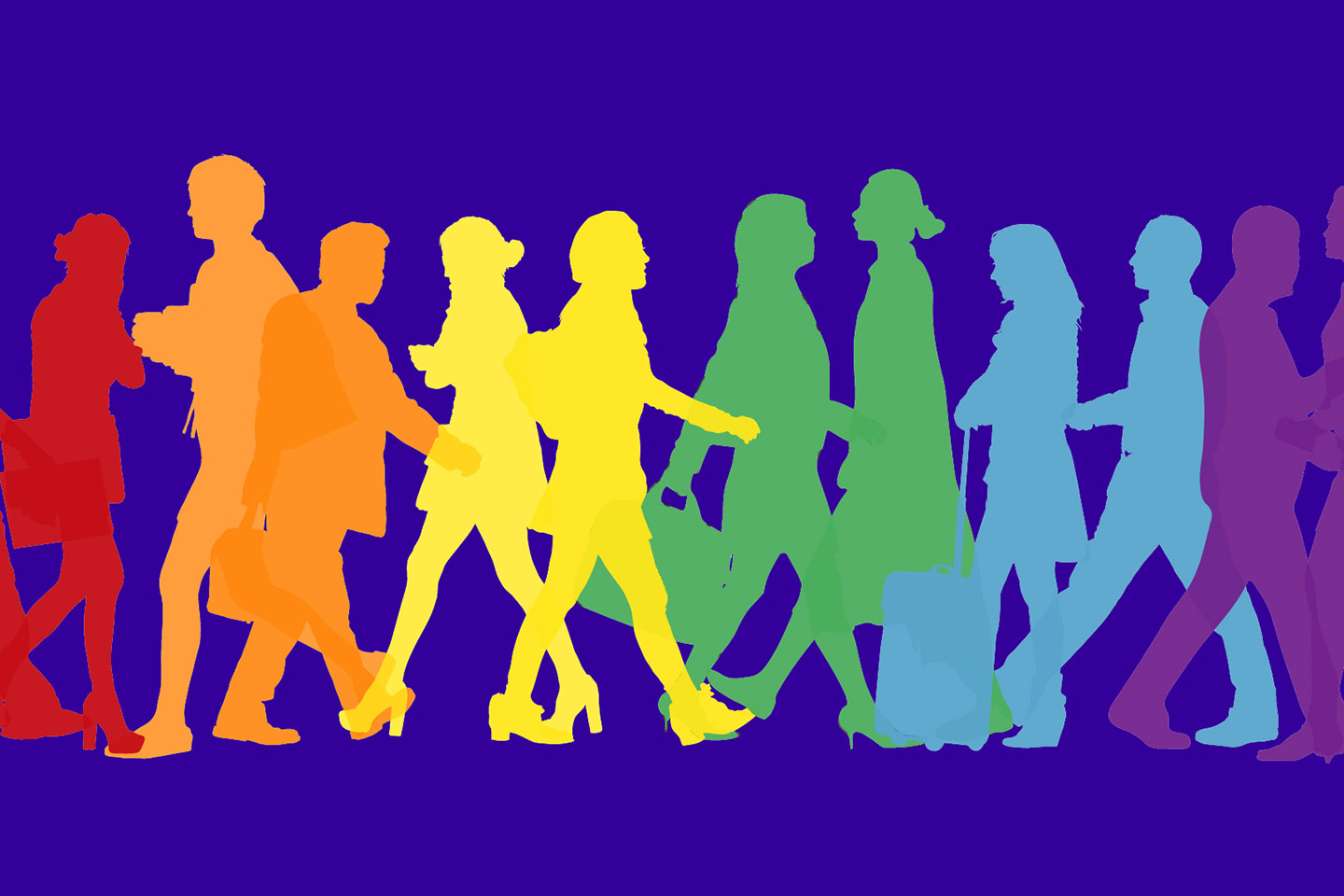 Silhouette of people walking on a colored background