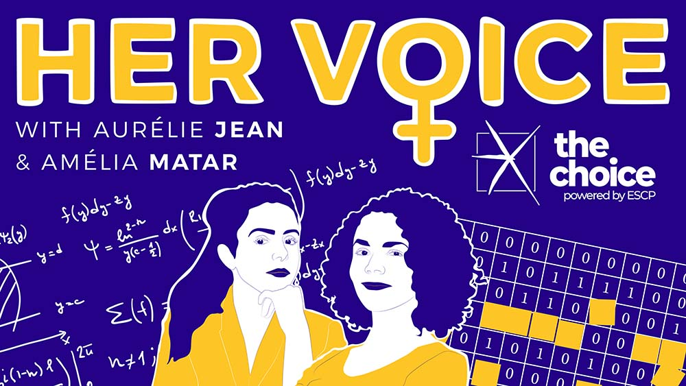 Image of the Her Voice logo with photos of our two guests Aurélie Jean and Amélia Matar