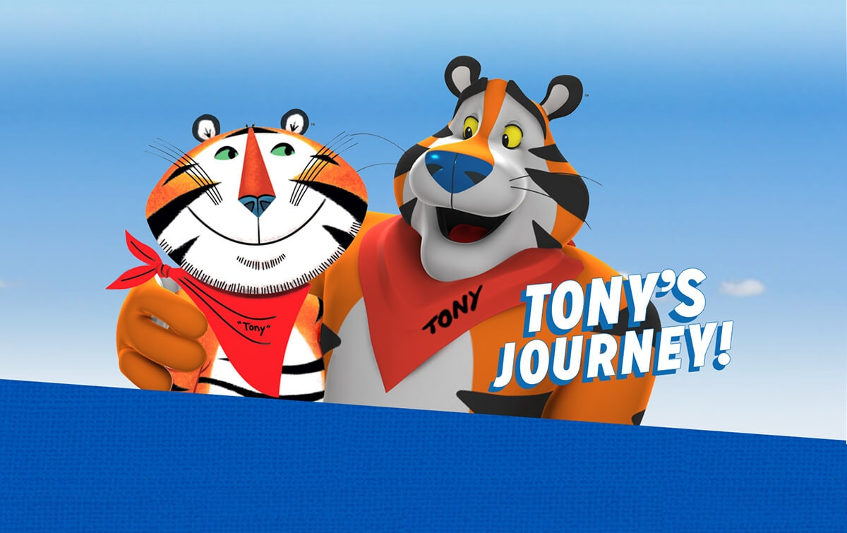 Picture of Tony the Tiger, advertising cartoon mascot for Kellogg's Frosted Flakes (also known as Frosties) breakfast cereal.