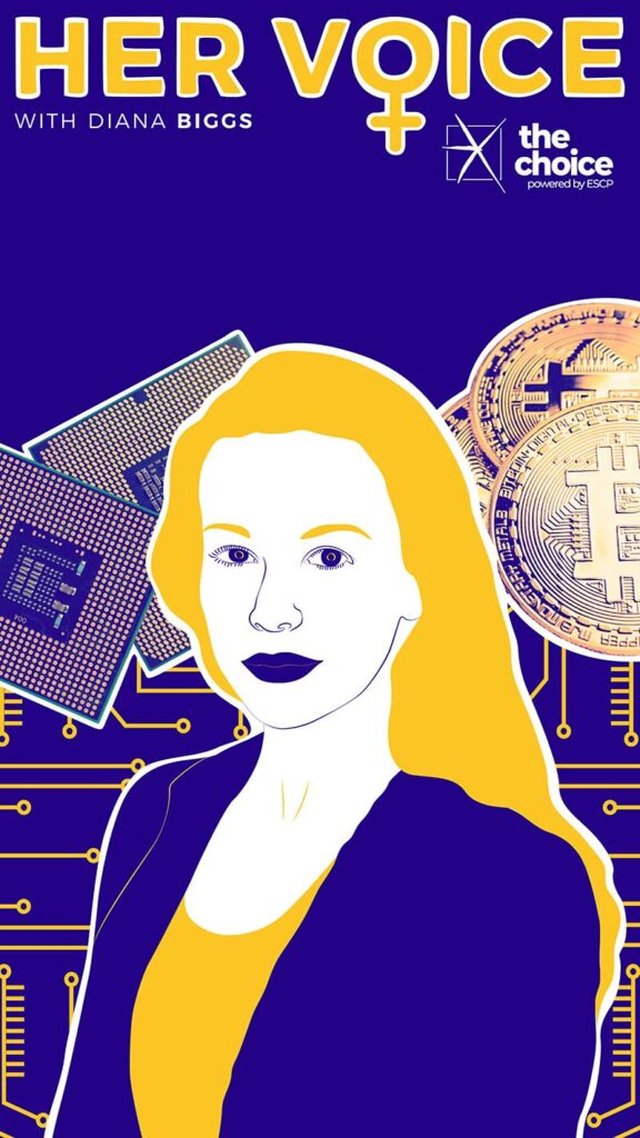 Illustration with a photo of Diana Biggs, the CEO of Valour, with bitcoin illustrations in the background.