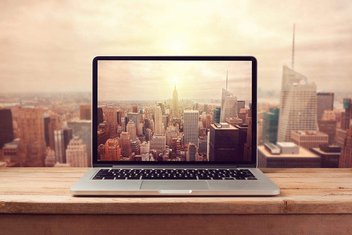 Computer in office dominating New York