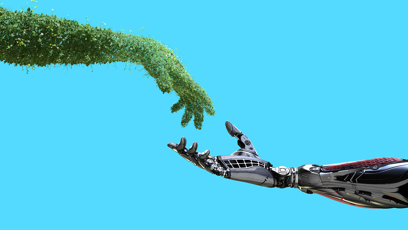human arm covered with grass and lush and robotic hand on flat background